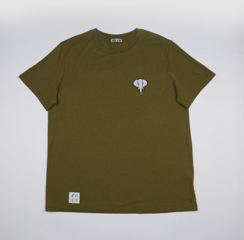 Khaki T-shirt • White logo OMNIA IN UNO
