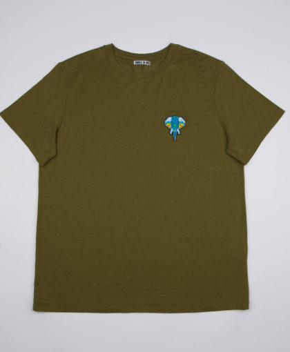 Khaki T-shirt • Turquoise logo OMNIA IN UNO