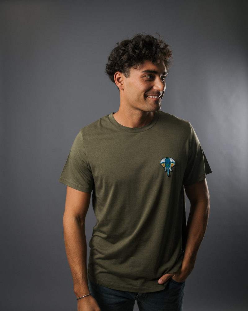 t shirt kaki logo bleu TENCEL LYOCELL COTON BIO OMNIA IN UNO ORGANIC COTTON