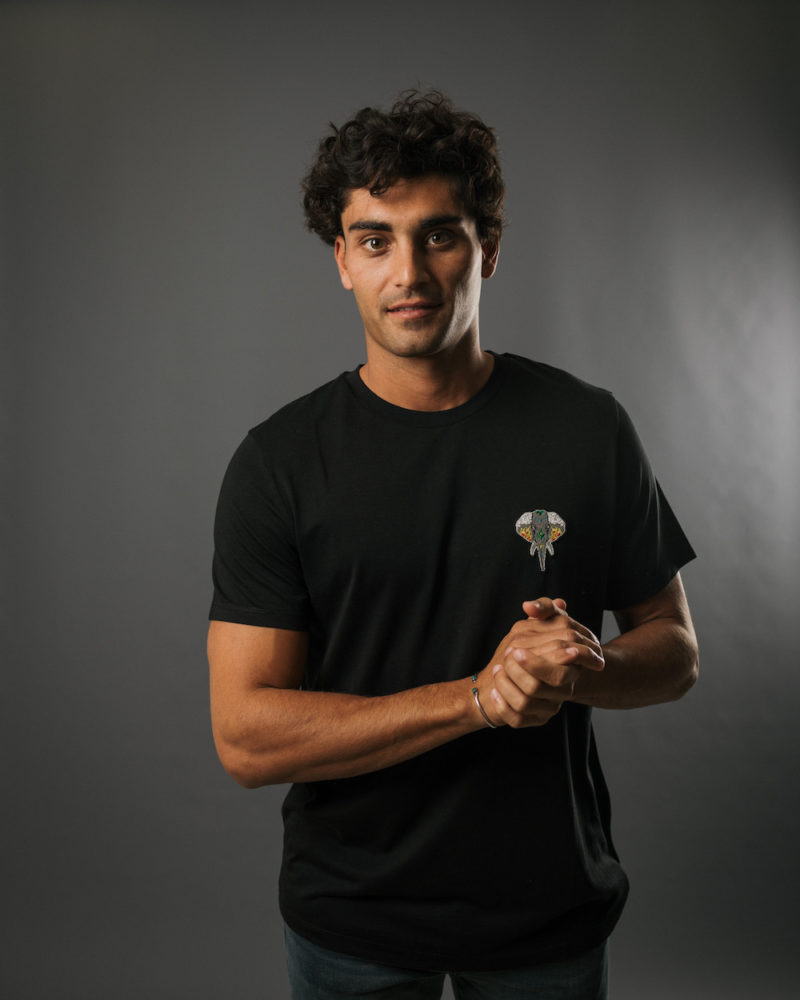 t-shirt noir logo argent TENCEL LYOCELL COTON BIO OMNIA IN UNO ORGANIC COTTON