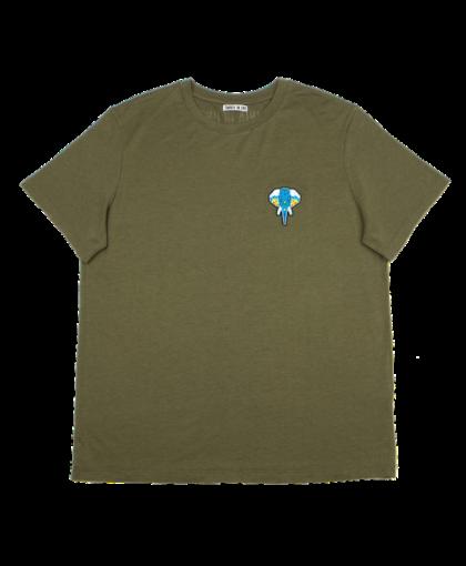 t-shirt kaki - logo bleu omnia in uno
