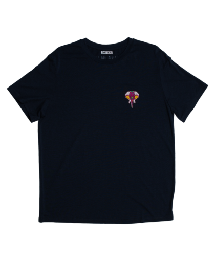 t-shirt navy - logo bordeaux omnia in uno