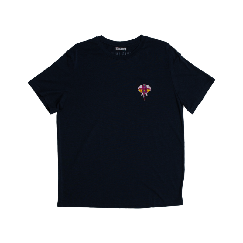 t-shirt navy - logo bordeaux omnia in uno