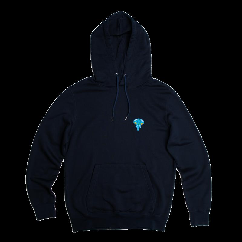 Navy Hoodie - blue logo omnia in uno