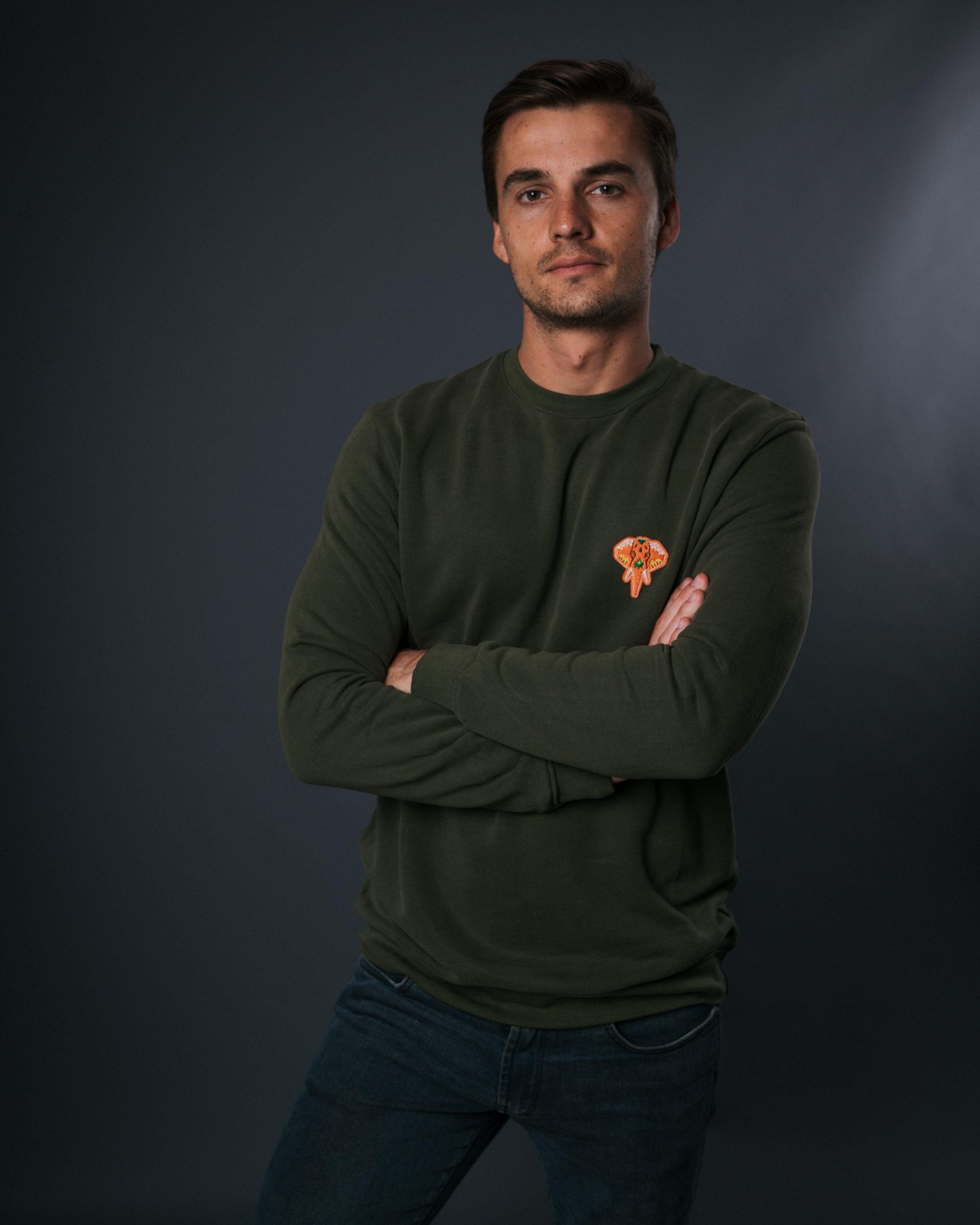 Sweat-shirt kaki logo orange