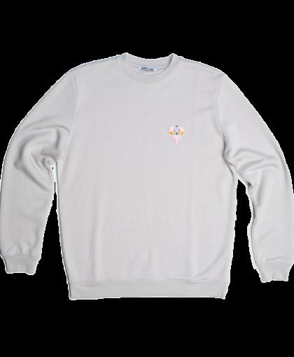 grey hoodie - pink logo omnia in uno
