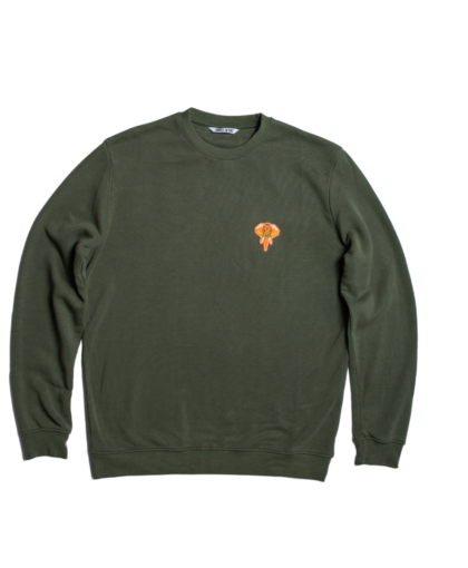 sweat-shirt col rond kaki - logo orange