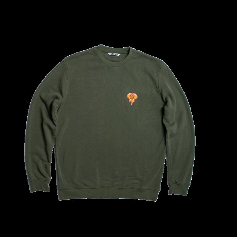 sweat-shirt col rond kaki - logo orange