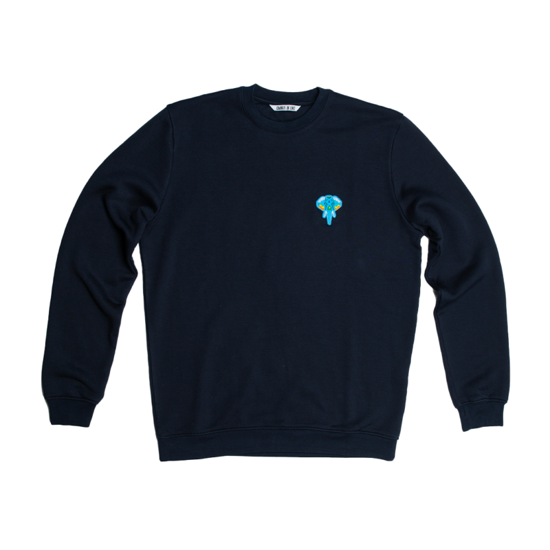 navy sweatshirt blue logo omnia in uno