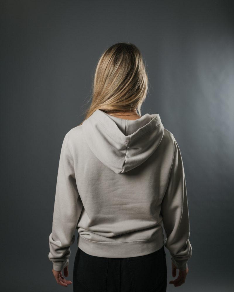 grey hoodie BACK OMNIA IN UNO