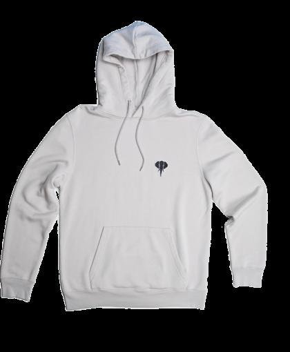grey hoodie black logo omnia in uno