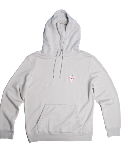 grey hoodie pink logo omnia in uno