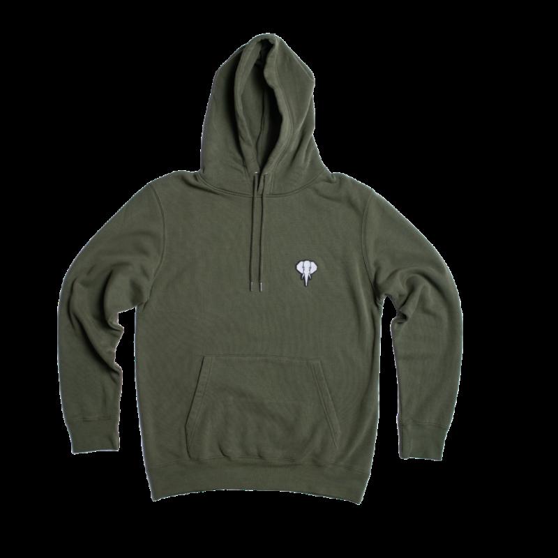 hoodie kaki - logo blanc