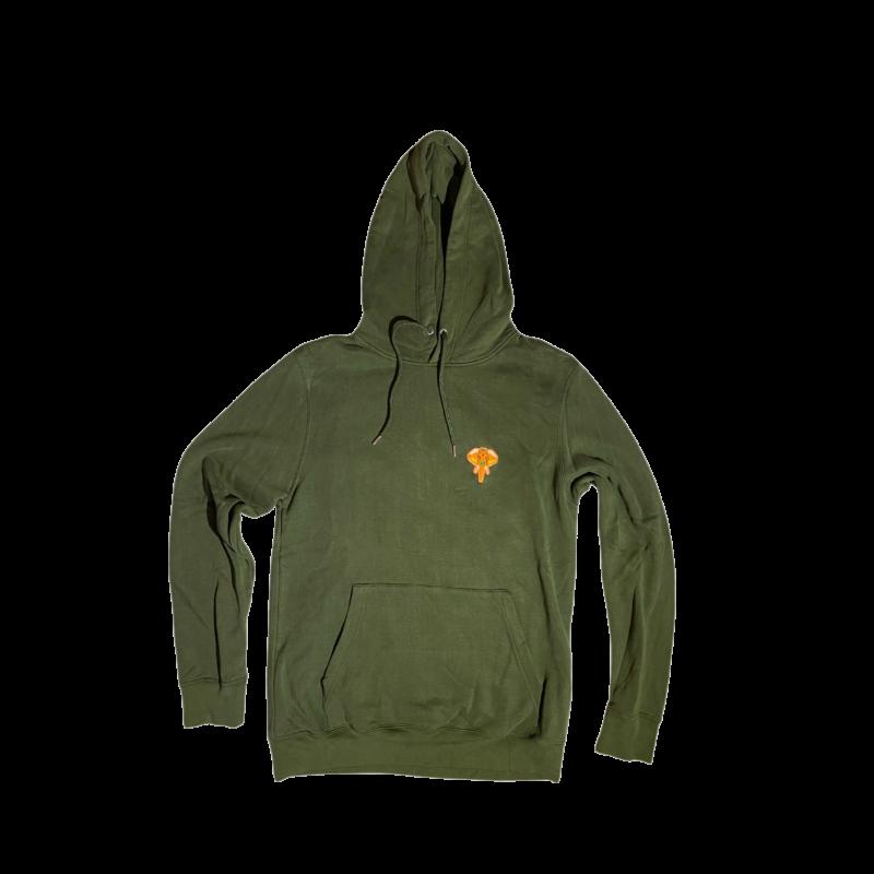 hoodie kaki - logo orange (1)