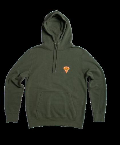 hoodie kaki - logo orange