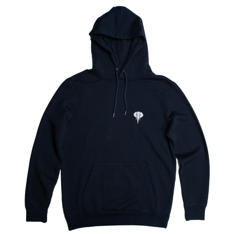 navy hoodie - white logo omnia in uno