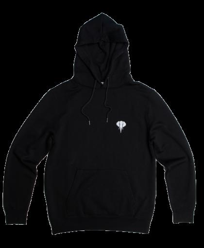 black hoodie white logo omnia in uno
