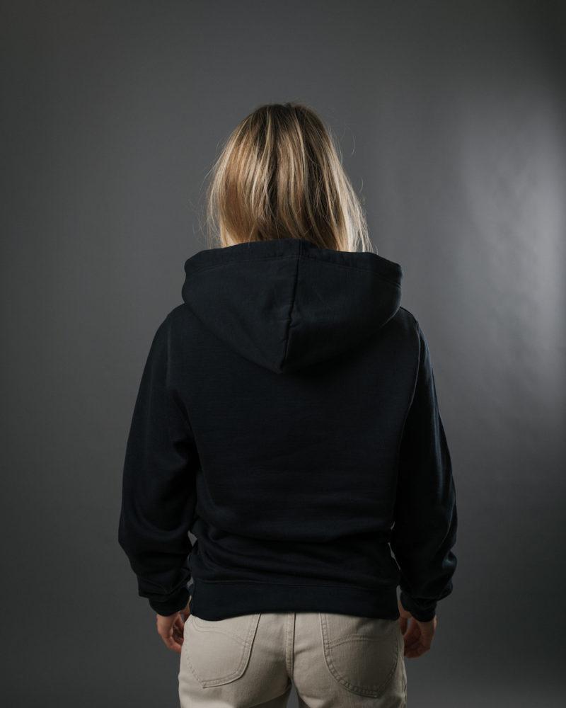 navy hoodie BACK OMNIA IN UNO